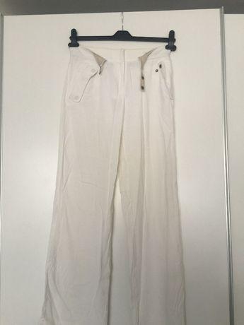 Дамски мръсно бели панталони Emporio Armani лен и вискоза