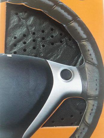 Универсален Черен Кожен Калъф за Волан 37см - 39 см Размер М