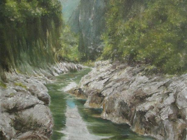 Peisaj de munte cu rau, pictura in ulei pe panza, tablou reusit
