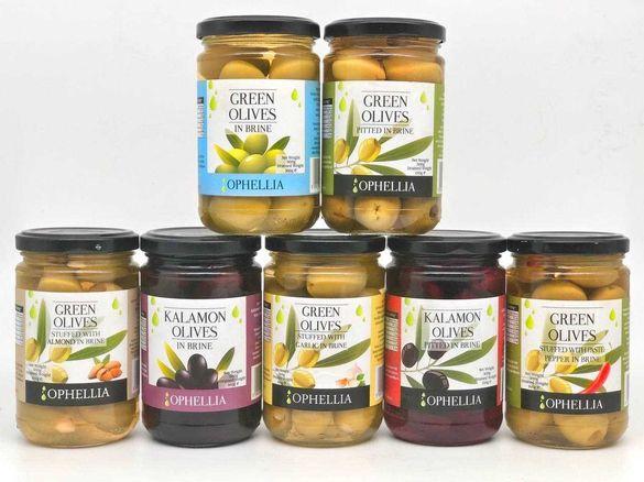ПРЕМИУМ маслина Ophellia Каламата и зелени-бадем,чушка и чесън 160гр.