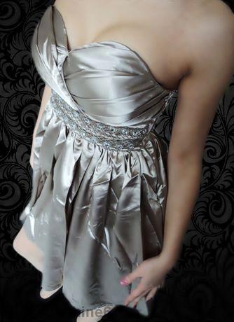 ПРОМОЦИЯ Сатенена рокля с камъчета