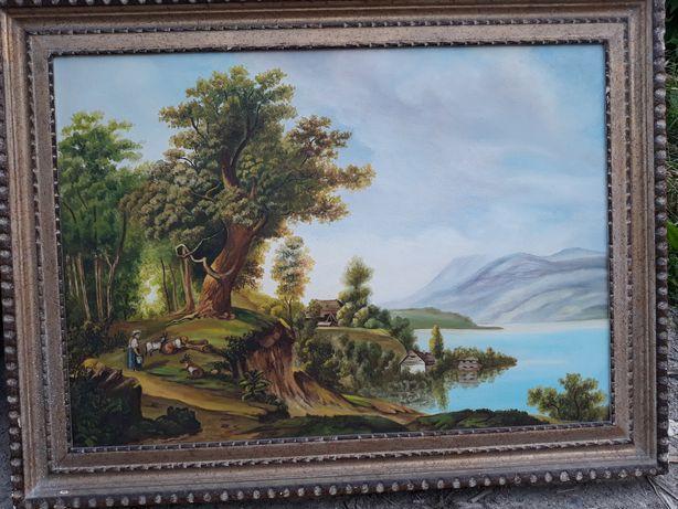 Tablou vechi pictat pe panza