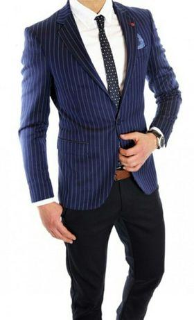 Sacou barbati BLZ Blazer, casual office, bleumarin cu dungi albe, L-XL