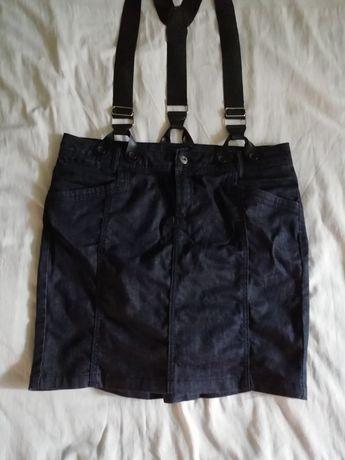 Дънкова пола с тиранти