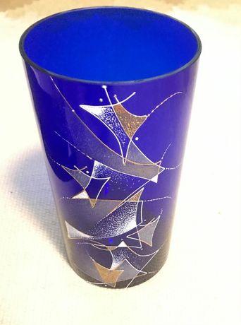 Луксозна синя ваза за декорация в кутия