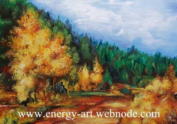 """Есенна маслена картина оригинал """"СЪЗЕРЦАНИЕ """", автор Верка Уилиамсън"""