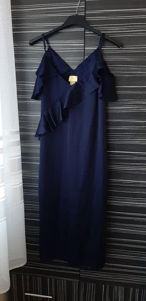 Синя сатенена рокля HM
