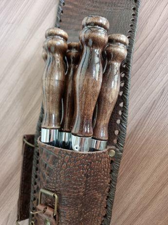 Шампуры набор в кожаном чехле