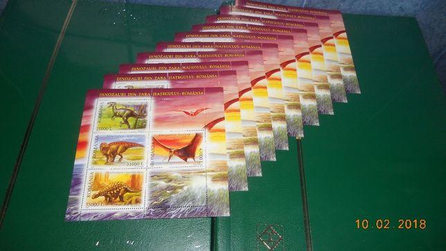 timbre romania 10 blocuri dinozauri 2005