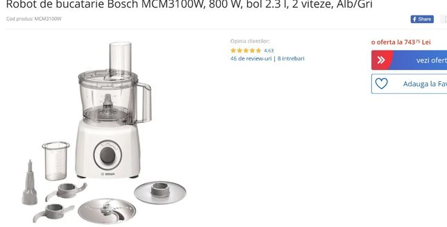 Robot bucatarie Bosch, jumatate de pret, garantie