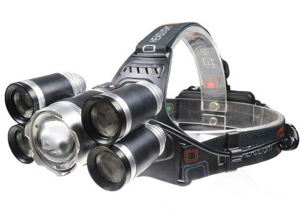 Супер мощен LED фенер - челник с акумулаторни батерии и 5 LED диода