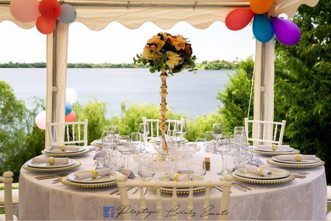 Inchiriem Cort, mese, scaune chiavari, vesela pentru evenimente