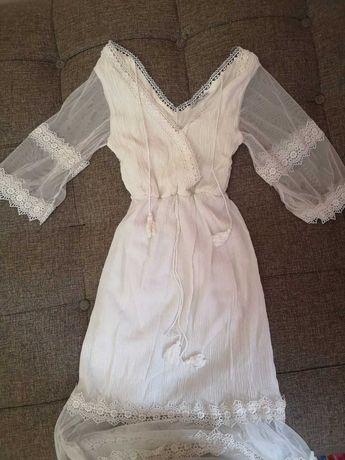 Летнее белое платье до пола, размер 42