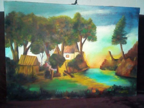 Pictura ulei - Peisaj - semnat Dumitru