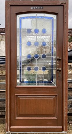 Usa casa vila firma intrare lemn geam vitraliu termopan H 220 x L 105