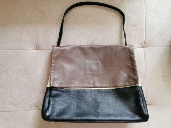 черна бежова кафява дамска чанта естествена кожа