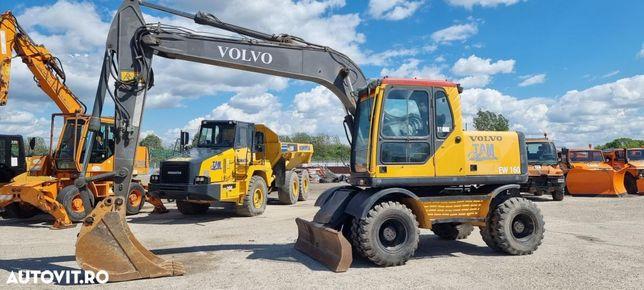 Volvo EW160 B excavator pe roti pneuri buldoexcavator