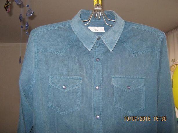 Продам новую вельветовую рубашку Colins на кнопочках темно-зеленого цв