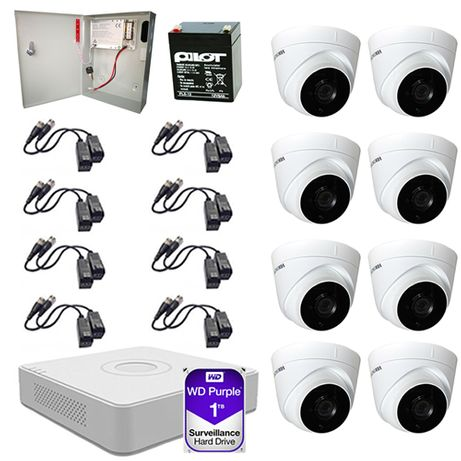 Sistem supraveghere video 8 camere 2MP Hikvision 1TB FullHD toate acc.