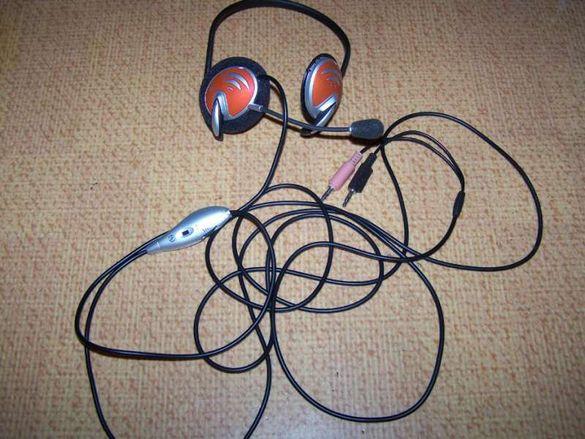 Слушалки с микрофон Logitech зад врат+3 комплекта части за смяна