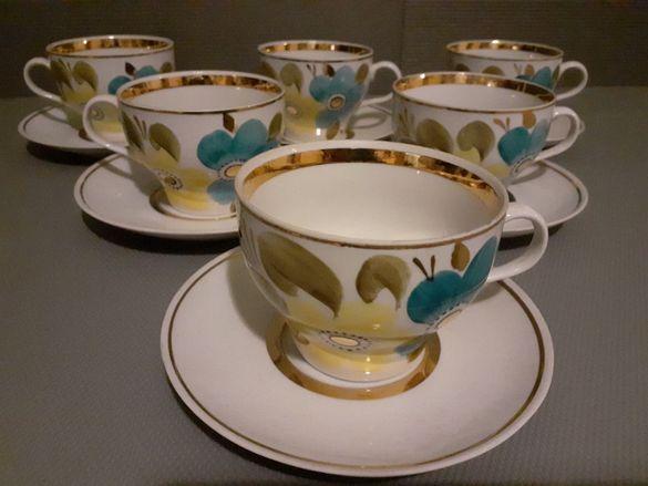 Руски порцеланов сервиз за чай.12 части.Старинен,,Барановка,,.70г.