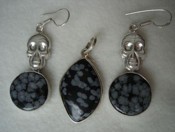 set marcat 925 - snowflake obsidian