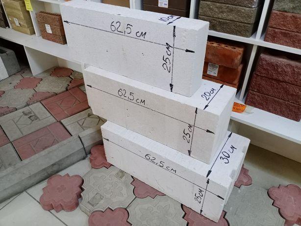 Продам газоблок автоклавный заводской 25*30*62,5 см, 25*20*62,5 см