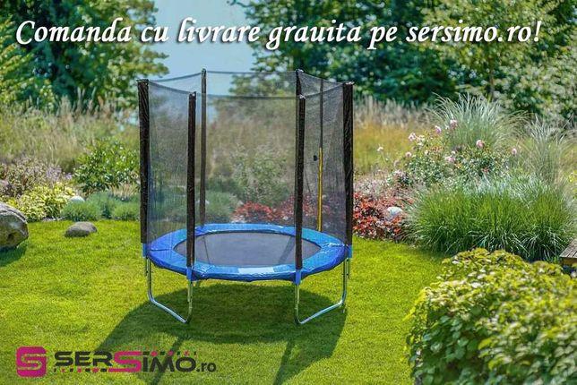 Trambulina Sersimo, cu plasa de protectie exterioara, 244 cm