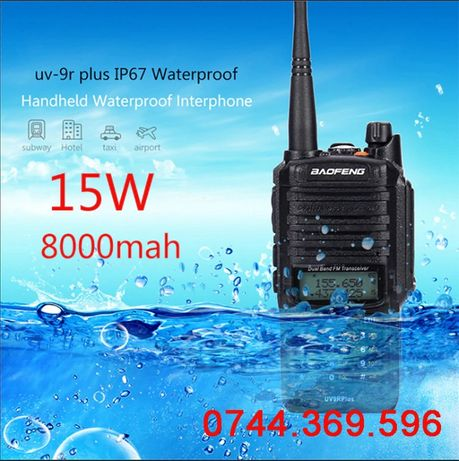 Statie radio BAOFENG UV-9R PLUS 15W DualBand UHV+VHF IP67 Waterproof
