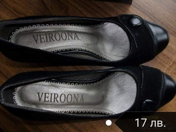 Нови официални Елегантни дамски черни обувки велур и кожа