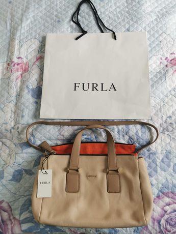 Furla оригинална бежова дамска чанта естествена кожа