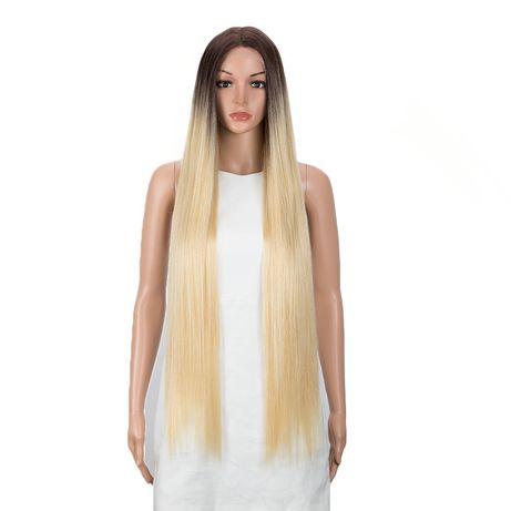 Peruca R116 FRONT LACE Blonda Ombre suvite baza satena bruneta lunga