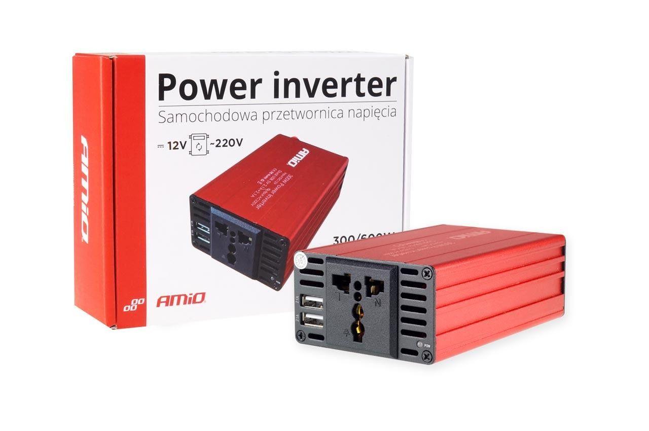Преобразувател на напрежение 12V / 230V 300W / 600W 2xUSB PI03