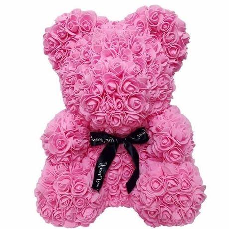 Urs roz din flori artificiale 40cm 170 lei