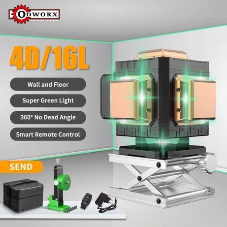 Лазерный уровень зеленый ODWORX 4D 16 линий Новый нивелир