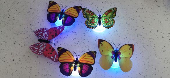 3D Пеперуди LED светеща декирация 5 броя