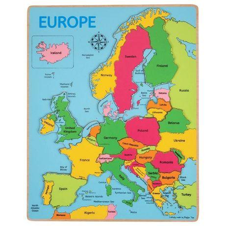 Bigjigs - Дървен пъзел - Карта на Европа