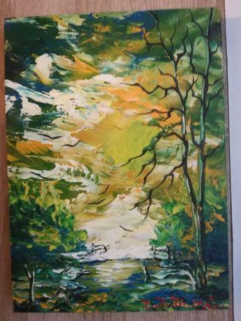 Pictura ulei in cutit / lemn, peisaj lacustru