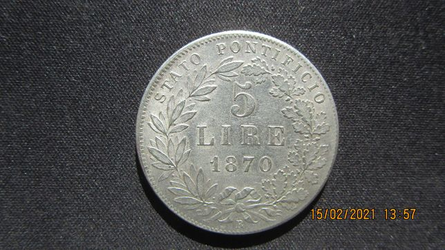 5 lire 1870 Vatican argint