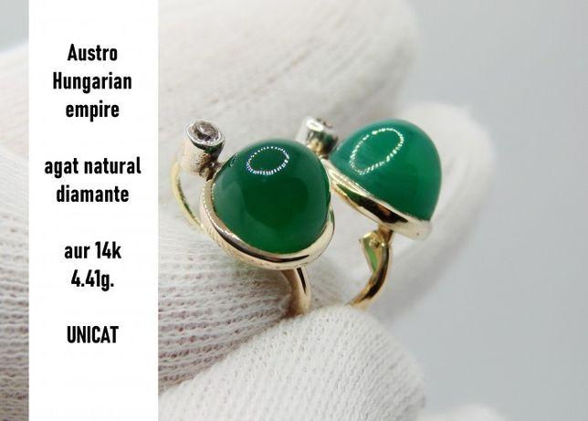 Cercei Aur 14K Cu Agat Natural Si Diamante