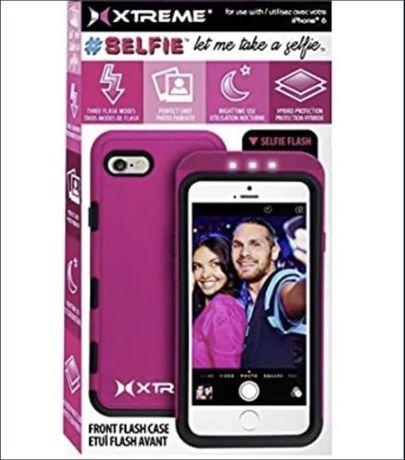 Husa protectie/selfie LED iPhone 6 6s negru cu alb