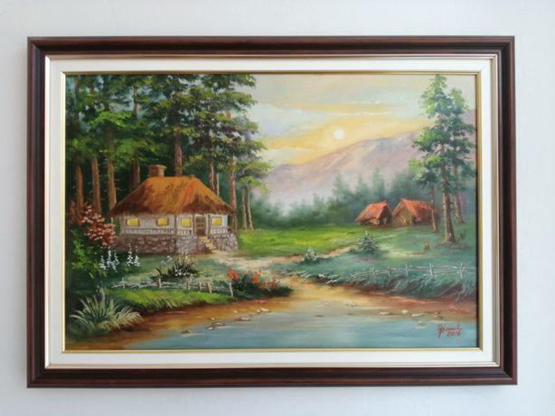 Tablou / pictura peisaj vara, pictor Iulian Banut