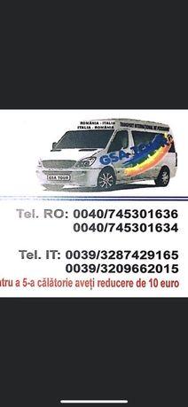 Transport persoane , colete si autoturispe pe platforma Romania Italia