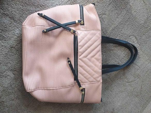 Розова голяма чанта с два варианта за носене