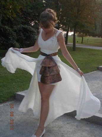 Rochie de ocazie, marimea 36-38, culoare alb- unt
