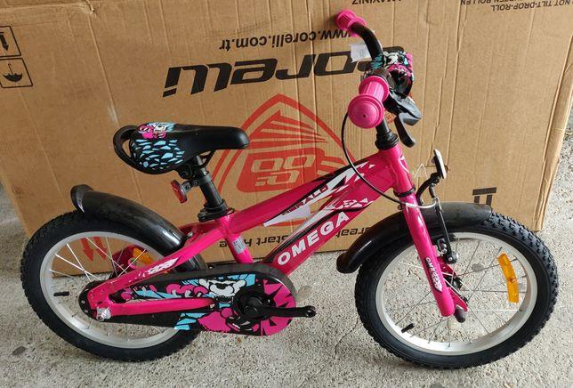 """Bicicleta Aluminiu Omega Gerald 16"""" ROZ pentru copii, produs Nou !"""