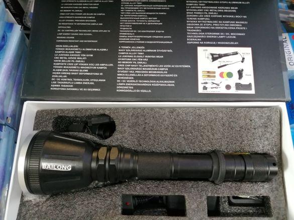 Мощен Акумулаторен LED Фенер за Оръжие Лед Прожектор за Пушка и лов