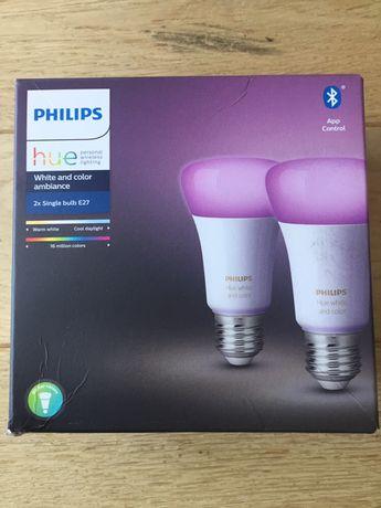 Set 2 becuri inteligente LED Philips Hue color, E27, 10W