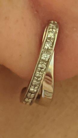 Cercei aur alb cu diamante
