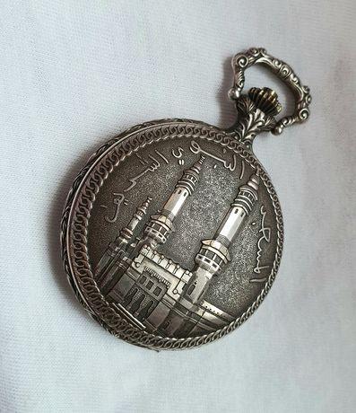 Carcasă hunter argintată, ceas buzunar, motiv Moscheea Profetului
